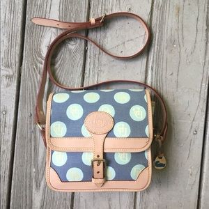 Canvas and leather crossbody purse—Dooney & Bourke
